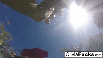 Olivia has some summer fun in the pool