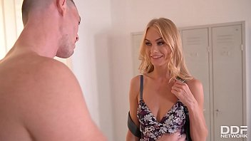 Slim blondie Nancy A. wants to ride his veiny cock in the locker room