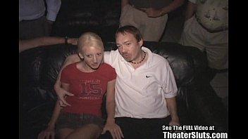 Skinny Blonde Wild Freak Fucked In Theater!