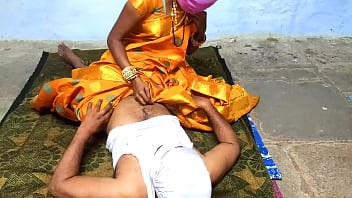 Sex with a Telugu wife in the middle of the night in a dark yellow sari