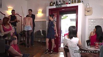 Brunette slave pussy vibed in public pornhub video