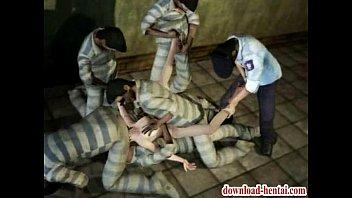 拘束され男達に上下の口へ次々に嵌められています。