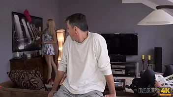 DADDY4K. Teen with perky tits cheats on GF with his old daddy 10 min