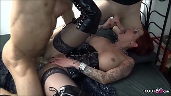 Amateur Threesome of German Redhead MILF with Two Young Guys