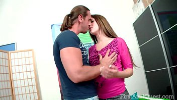 FirstAnalQuest.com - ANAL CREAMPIE TURNS ON THE BIG ASS BRUNETTE TEENAGER