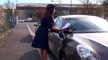 French meter maid gets fucked by 2 guys in a warehouse