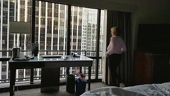 Mature hottie naked in hotel window
