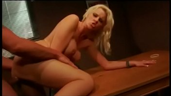 Blonde slut with large tits rides a hard cock