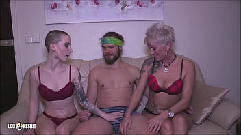 young Boys first Threesome with two girls