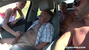 Street Slut Fucking with Grandpa, Son and Uncle porno izle