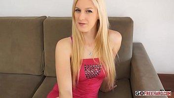 Cute Skinny Blonde Teen Banged Hard On Couch