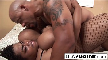 Big ebony MILF gets her mouth, tits, and pussy fucked