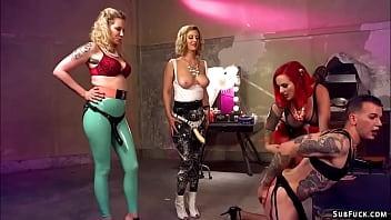 Three Femdoms Torment Feminized Slave