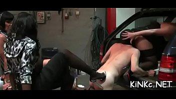 Sexy slave girls on leashes Mistress takes bondman for walk