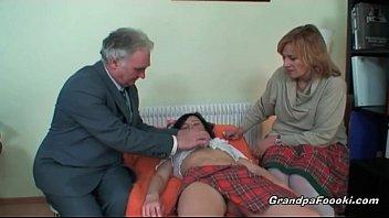Nasty slut gets seduced by mature couple