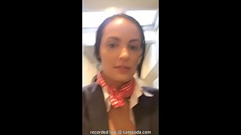 Flight attendant uses in-flight wifi to cam on camsoda! porno izle
