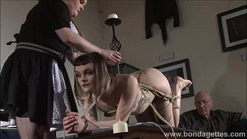 Alternative fetish model Violettes lesbian bondage and livingroom restraints of