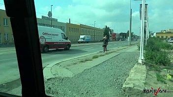 Hitchhiking sharp mom slap dude in van before suck his cock & eat his cum