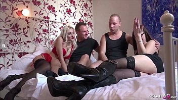 Two Guys Change German Girlfriend and Fuck in FFMM Foursome
