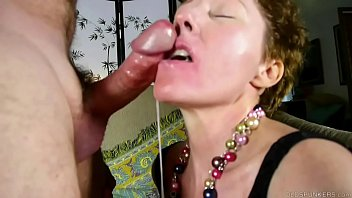 Cock hungry old spunker sucks dick for a facial cumshot