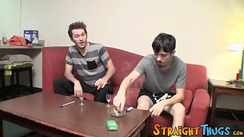 Two young straighties are competing who will cum first