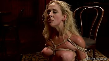 Tied busty blonde gets rough banged