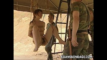 Nude femal us soldier - Asian slut hanging on some ropes fucked by the soldiers