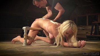 Bondage Slave Girl Tied Up Pussy Fingering For Slutty Blonde