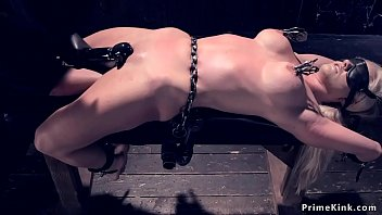 Bound in device blonde is vibrated