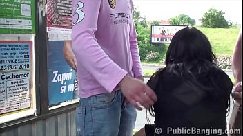 Cute brunette with big tits fuck in the middle of street in public sex threesome