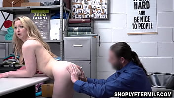 Officer commands shoplifter milf to sit on his dick and grinds