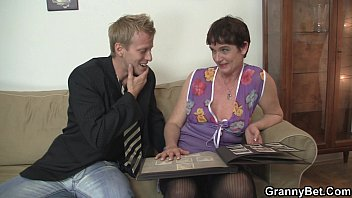 Old granny in black stockings rides his meat thumbnail