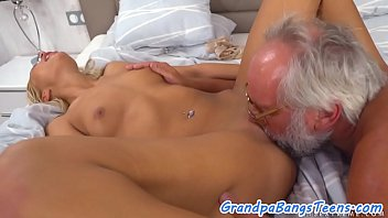Teen beauty tastes her pensioner lovers cum