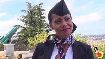Stunning big tits stewardess Clélie's first video to do hard sodomy