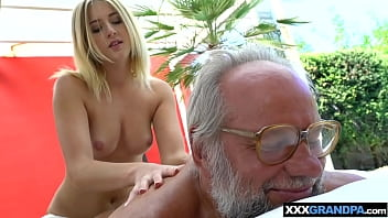 Teen gave a massage to granpa and took care of his cock