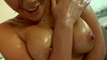 BUSTY ASIAN SLUT STRIPS AND GETS OFF