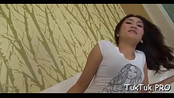 Thai sex video stream - Curious babe plays with a large dick and cant live without to sit on it