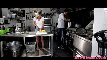 Heeled glamour euro anally pounded in kitchen