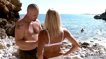 Blonde mom double penetrated on rocks by the sea & totally cum covered thumbnail