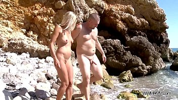 Blonde mom double penetrated on rocks by the sea & totally cum covered 20 min
