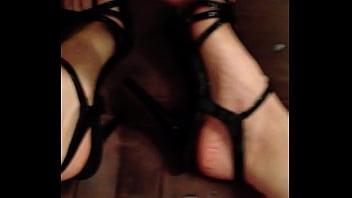 Cum over hot wife feets in heels