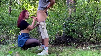 Public sex with pretty redhead wife KleoModel. Amateur video 10 min