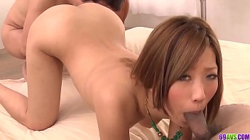 Smooth threesome Japanese porn with hot Aika - More at 69avs com