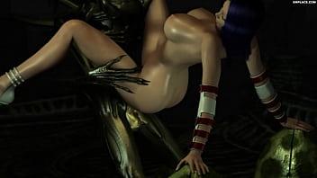 3D Alien fucks girl with blue hair.-SMPlace.com