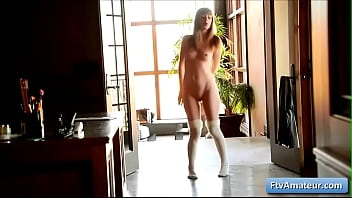 Young blonde amateur cutie girl Alana dance naked in her house and reveal her amazing body