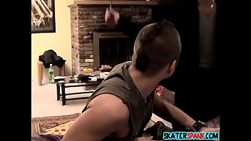 Young guy gets rough paddling across his tight bare ass