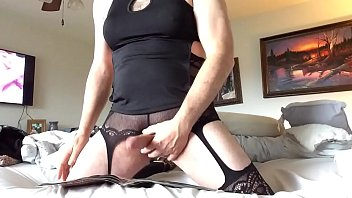 Gays wearing nylons cum Wearing my wifes lingerie because she never does part 4