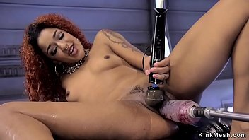 Ebony redhead beauty fucking machine