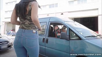 Busty, dark-haired Spanish beauty Alba De Silva is texting on the sidewalk when Nacho Vidal pulls over for directions. Nacho pulls out his big cock