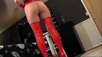 Redhead work boots Pantyhose and red boots